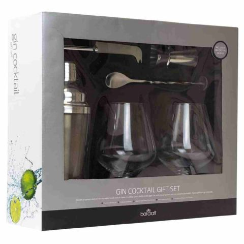 BarCraft Metal Gin Cocktail Shaker Boxed Gift Set
